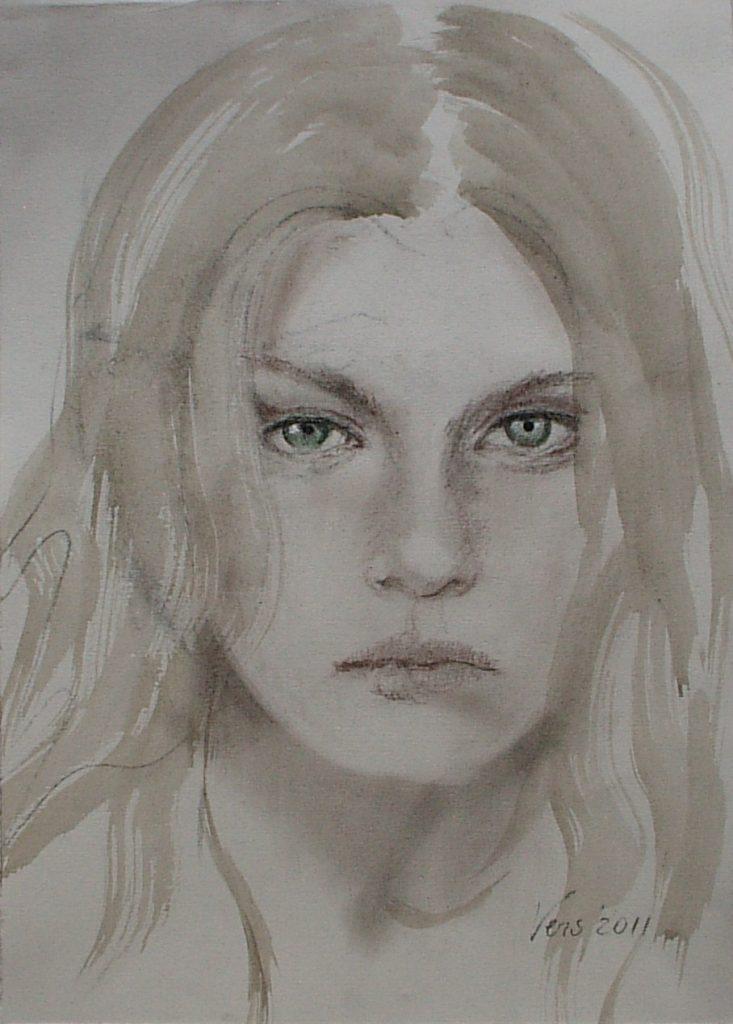 twarz w technice akwareli Weronika Pawłowska